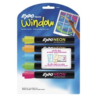 EXPO Low Odor Non-Toxic Dry Erase Marker, Bullet Tip, Assorted Neon Color, Pack of 5