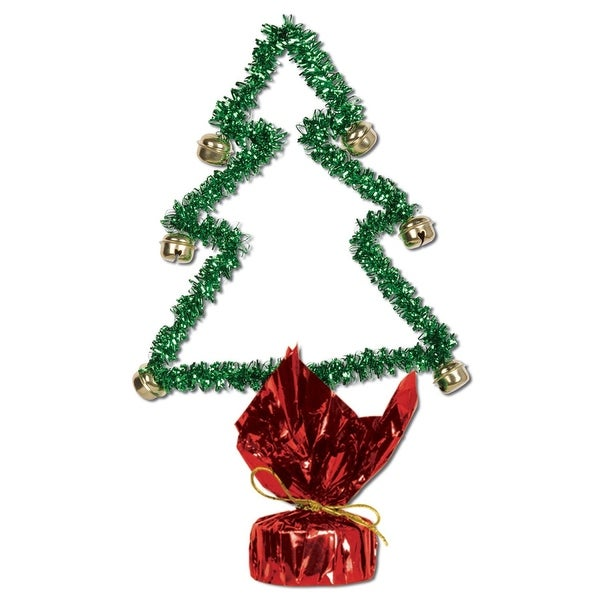 Club Pack of 12 Red and Green Gleam 'N Shape Christmas Tree with Bells Centerpiece Decorations 11""