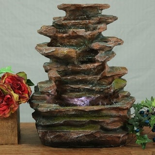Sunnydaze Soothing Rock Falls Tabletop Fountain with LED Lights 15 Inch Tall