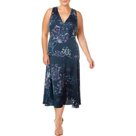 Rachel Rachel Roy Womens Plus Wrap Dress Midi Floral Print