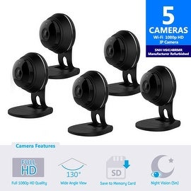 5 pack of SNH-V6414BMR - Samsung HD Plus WiFi IP Camera with 16GB microSD Card (Refurbished)