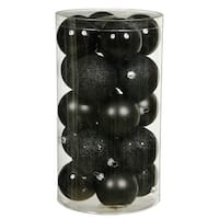 Christmas at Winterland WL-ORNTUBE-100-BK 4-Inch Plastic Shatterproof Black Ball Ornaments (Package of 50)