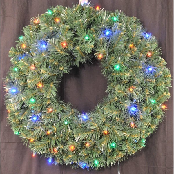 Christmas at Winterland WL-GWSQ-02-L4M-BAT 2 Foot Pre-Lit Battery Operated Multicolor LED Sequoia Wreath