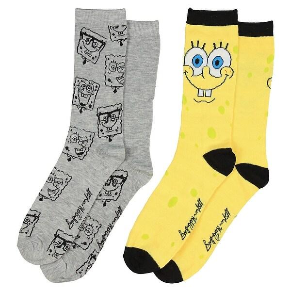 Nickelodeon Spongebob Squarepants Men's 2 Pack Casual Crew Socks