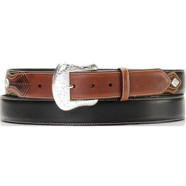 Nocona Western Belt Mens Leather Top Hand Laced Black Bark