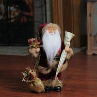 "12"" Woodland Standing Santa Claus Christmas Figure with Name List and Gift Bag - RED"