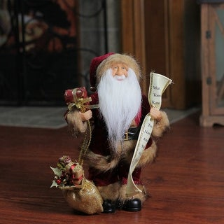 """12"""" Woodland Standing Santa Claus Christmas Figure with Name List and Gift Bag - RED"""