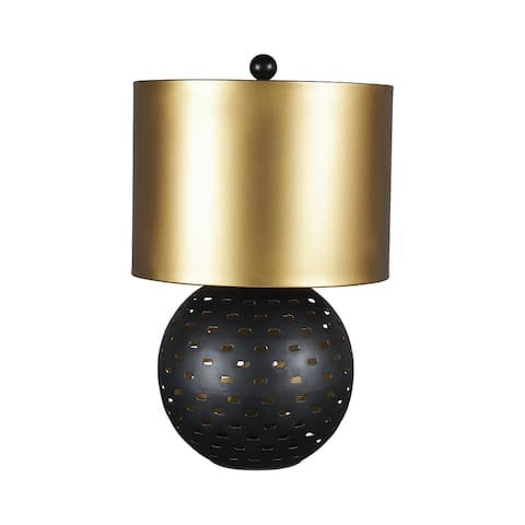 "Mareike Contemporary Black/Gold Finish Metal Table Lamp - 11""W x 11""D x 18""H"