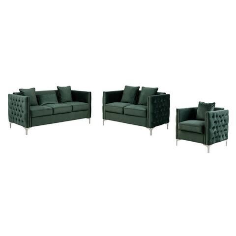 Bayberry Velvet Sofa Loveseat Chair Living Room Set