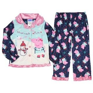 Peppa Pig Pajamas Girls Toddler Snow Much Fun Winter Wonderland 2 Piece Fleece Coat Sleep Set
