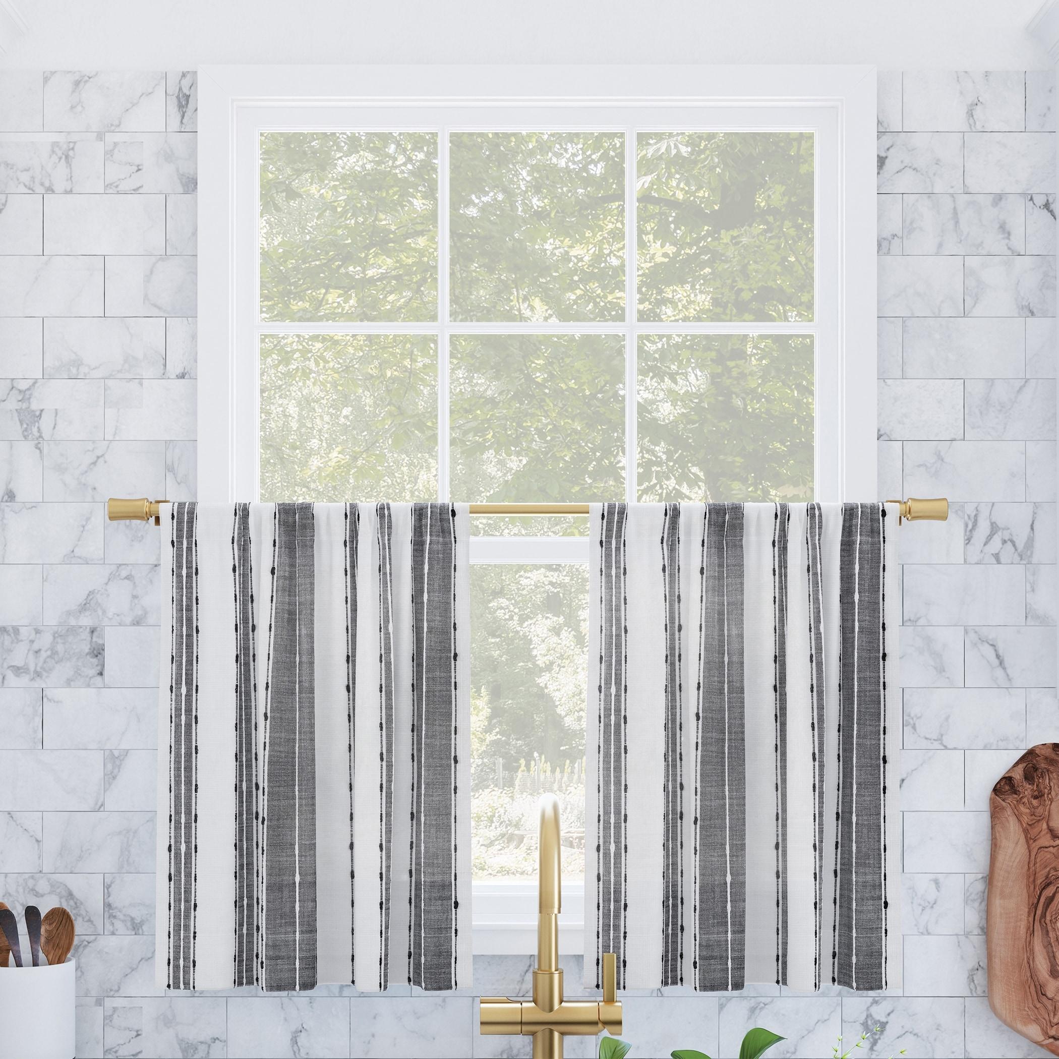 Archaeo Slub Texture Stripe Cotton Cafe Curtain Pair Overstock 32017252