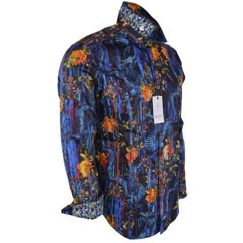 Robert Graham COUGHT Vibrant Printed DRAGON Floral Button Down Shirt