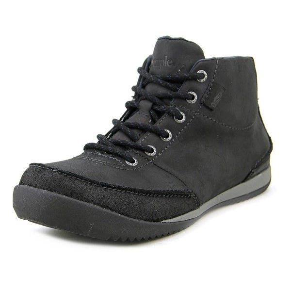 Simple Altitude Men Round Toe Leather Black Boot
