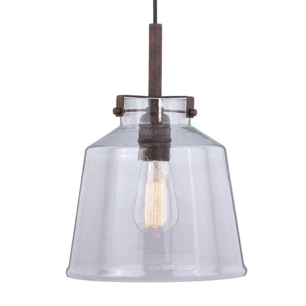 Vaxcel Lighting P0260 Milone Single Light 10 Wide Pendant With A Clear Seedy Gl