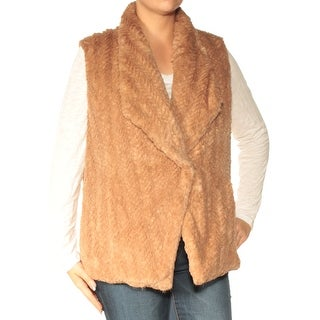 Womens Brown Sleeveless Open Cardigan Casual Vest Sweater Size L