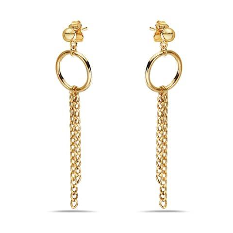 Pori 14K Yellow Gold Hoop and Cuban Chain Dangle Earrings