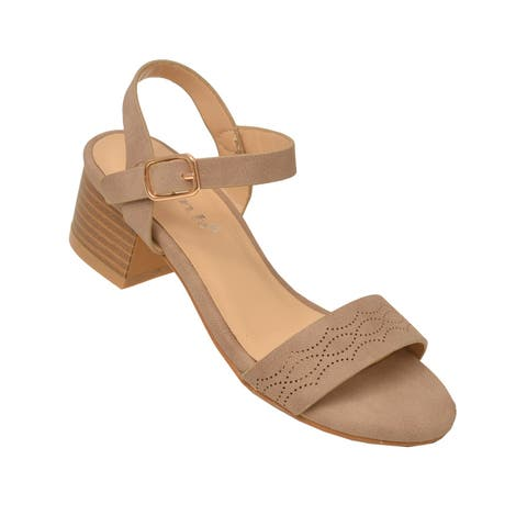 Girls Taupe Open Toe Buckled Ankle Strap Low Block Heel Sandals 12 Kids - 12 Kids
