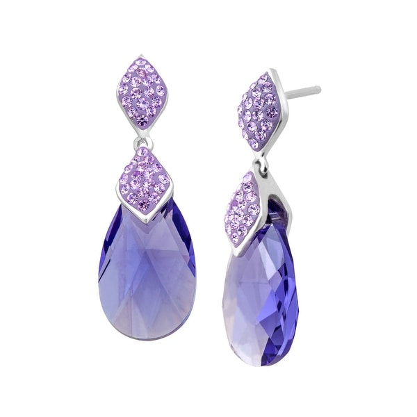 Crystaluxe Drop Earrings with Violet Swarovski Elements Crystals in Sterling Silver - Purple