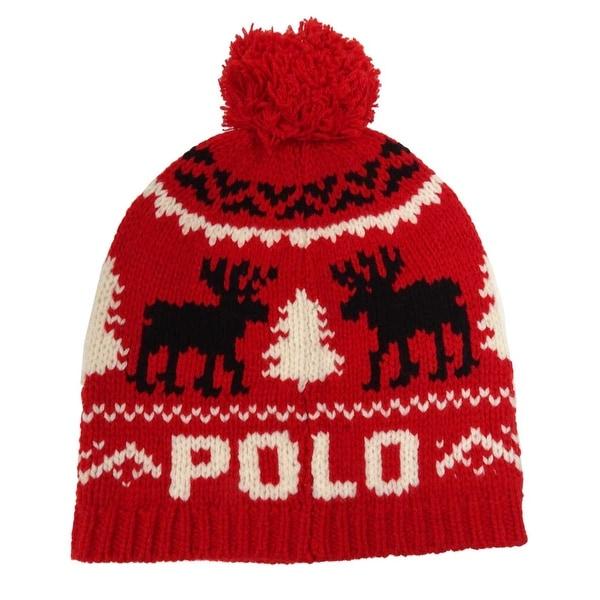 Polo Ralph Lauren Men/'s Reindeer Wool Cap Black OS