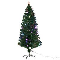 Costway 6Ft Pre-Lit Fiber Optic Artificial Christmas Tree w/ Multicolor Lights & Stand - green