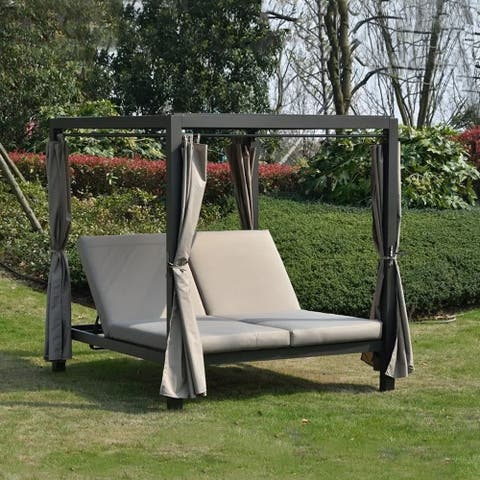 Moda Outdoor Adjustable Daybed with Canopy Patio Steel Lounge Set