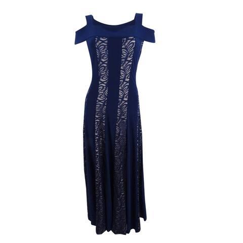 R & M Richards Women's Glitter Lace Cold-Shoulder Gown (8, Navy/Toupe) - Navy/Toupe - 8