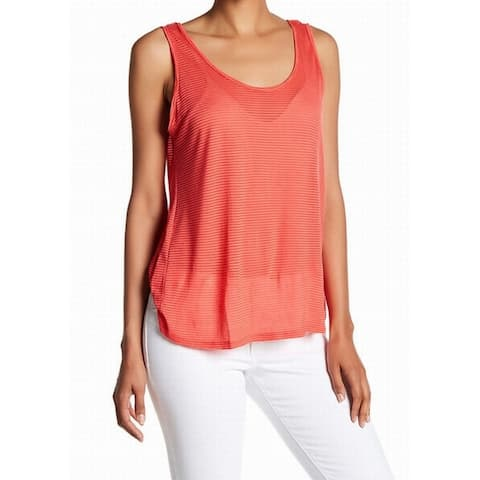 Lush NEW Coral Red Womens Size Large L Scoop Neck Sheer Stripe Tank Top 210