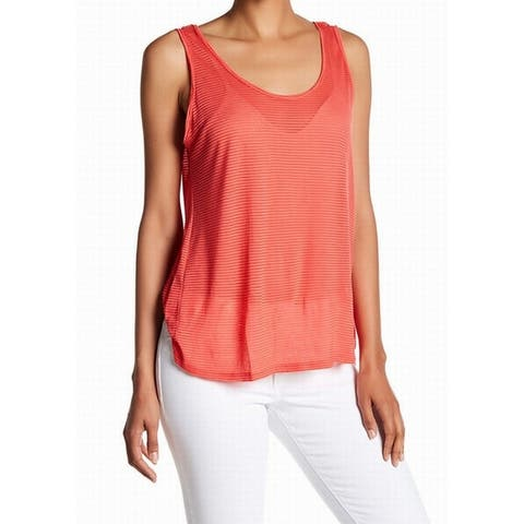 Lush Coral Womens Small Scoop Neck Sheer Stripe Tank Top