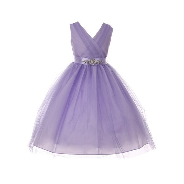 c27b6ae43 Shop Girls Lilac Rhinestone Satin Sash V-Neck Tulle Junior Bridesmaid Dress  - Free Shipping Today - Overstock - 23090248