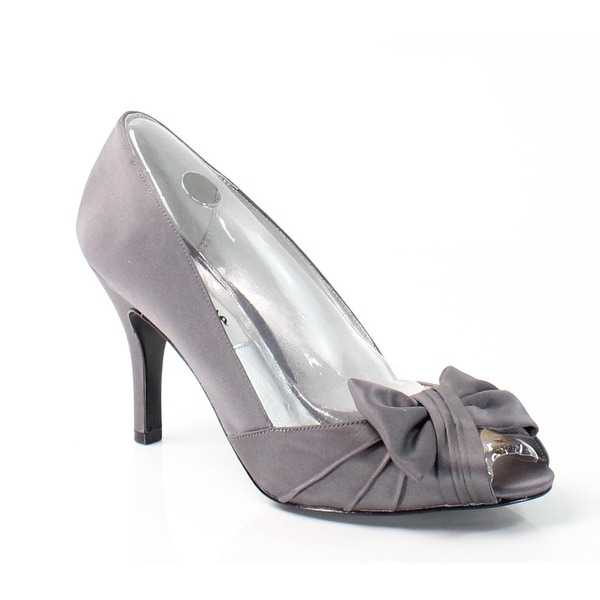 Nina NEW Gray Forbes Shoes 9.5M Satin Steel Luster Open Toe Heels