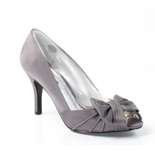 Nina NEW Gray Forbes Shoes Size 9.5M Peep Satin Open Toe Heels