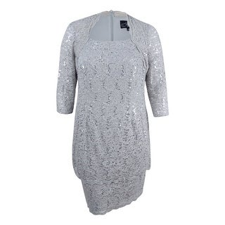 Alex Evenings Women's Plus Size Scallop Edge Sequin Lace Shift Dress - platinum