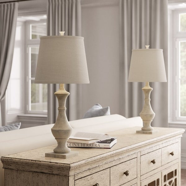 Set of 2 Marion Table Lamps, 27 inch Tall, Weathered White. Opens flyout.