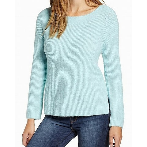 Leith Women's Bateau Neck Knit Blue Size Small S Pullover Sweater