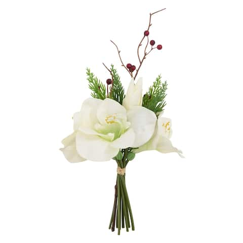 Artificial Bouquet with Amaryllis Pine Needle Berry Design (Set of 12) - White