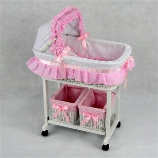 Regal Doll Carriages Julia Wicker Doll Bed Cot Crib with 2 Tidies