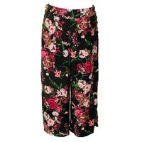 Inc International Concepts Black Multi Floral Printed Cropped Wide-Leg Pants 16