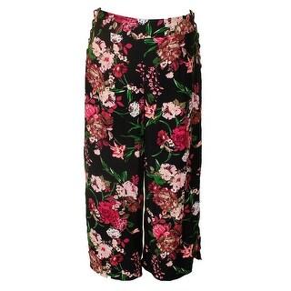 Inc International Concepts Black Multi Floral Printed Cropped Wide-Leg Pants 16
