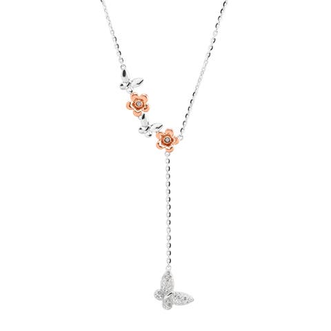 Crystaluxe Two-Tone Butterfly Lariat Necklace with Swarovski Crystals in Sterling Silver - White