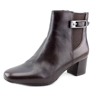 Bandolino Lethia Women Square Toe Leather Brown Ankle Boot
