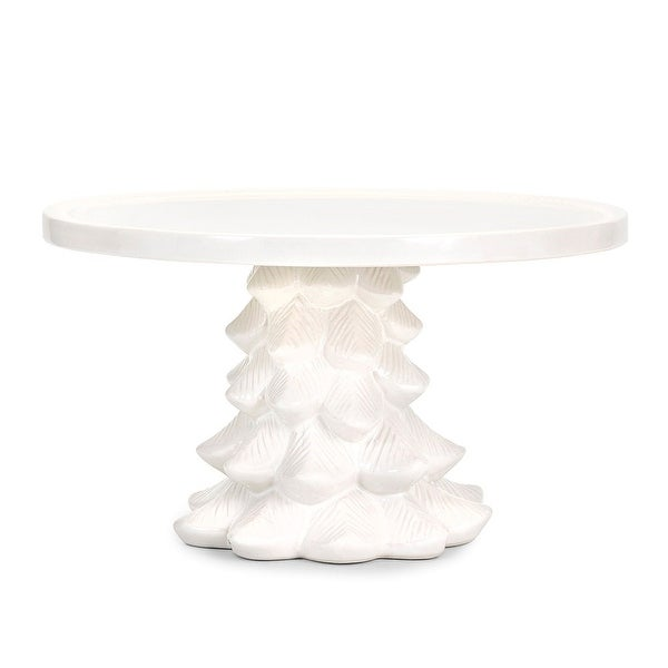 11 75 White Ceramic Christmas Tree Cake Stand N A