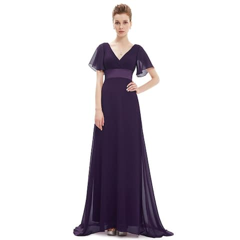 330903dfc71f Ever-Pretty Womens Elegant V-Neck Ruched Chiffon Formal Evening Prom Party  Dress 09890