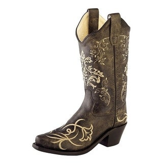 Old West Cowboy Boots Boys Girls Kids Snip Toe Vintage Charcoal