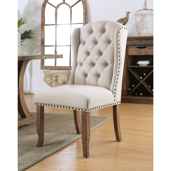 Furniture of America Farmhouse Upholstered Dining Chairs (Set of 2). Opens flyout.