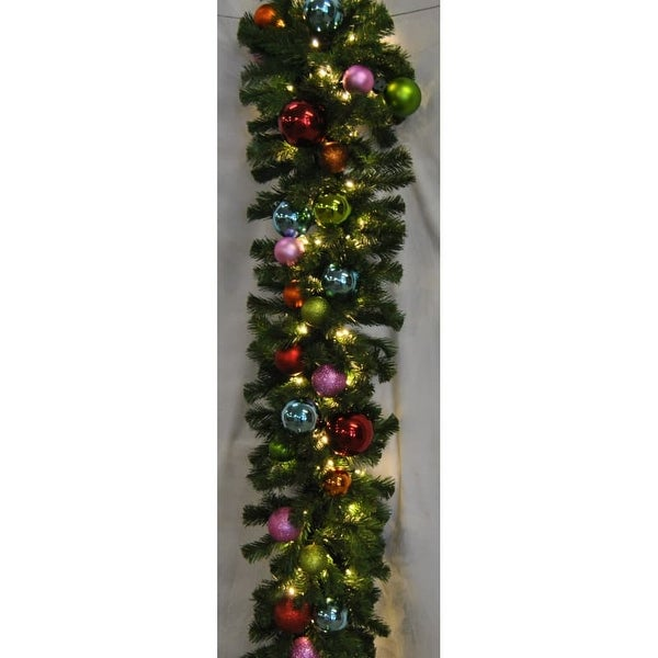 Christmas at Winterland WL-GARBM-09-TROP-LWW 9 Foot Pre-Lit Warm White LED Blended Pine Garland Decorated with Tropical