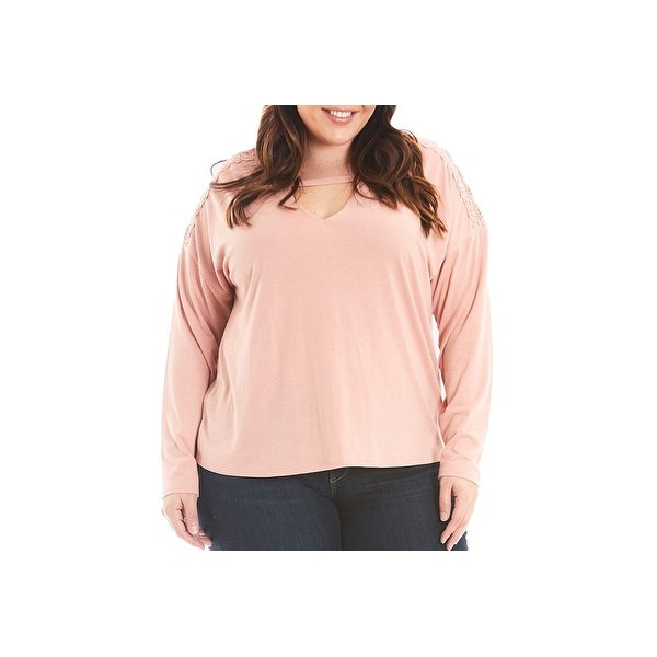 9b7be3c02072e Shop Eyeshadow Blush Pink Women Size 2X Plus Shimmer Keyhole Pullover Top -  Free Shipping On Orders Over  45 - Overstock.com - 27315866
