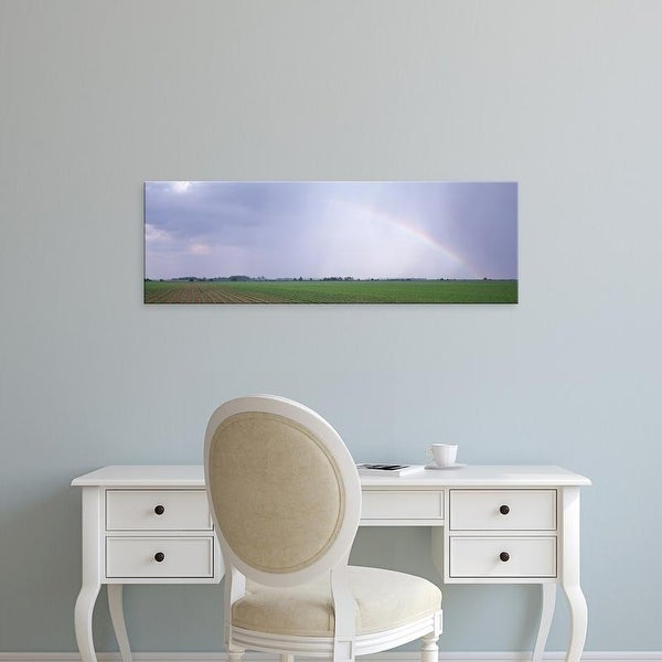 Easy Art Prints Panoramic Images's 'Rainbow and storm clouds over a soybean field, Marion County, Illinois' Canvas Art