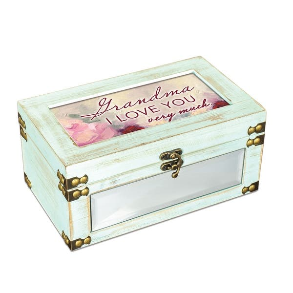 9 75 Teal Green And Pink Distressed Finish Grandma Love You Very Much Printed Music Box Overstock 28757303