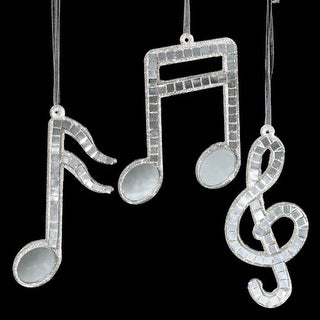 Club Pack of 24 Mirrored Musical Notes and Treble Clef Christmas Ornaments