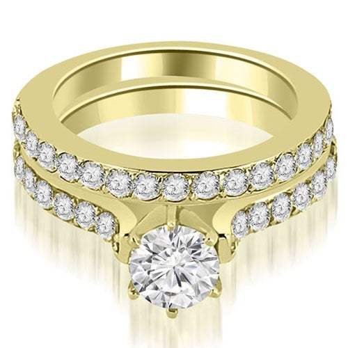 1.65 cttw. 14K Yellow Gold Cathedral Round Cut Diamond Engagement Matching Set